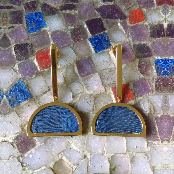 GOLD-PLATED Half Moon Shape Earrings Lapislazuli Leather