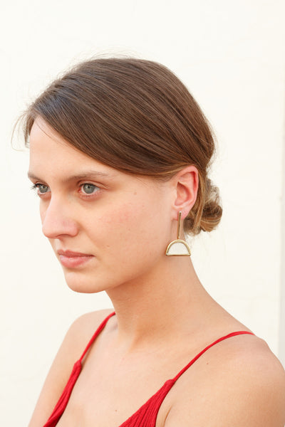 GOLD-PLATED Half Moon Shape Earring White Leather