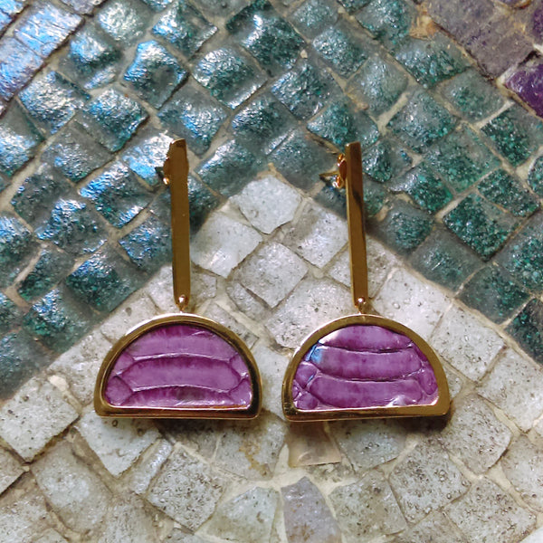 Fucsia Half-Moon Earrings Leather