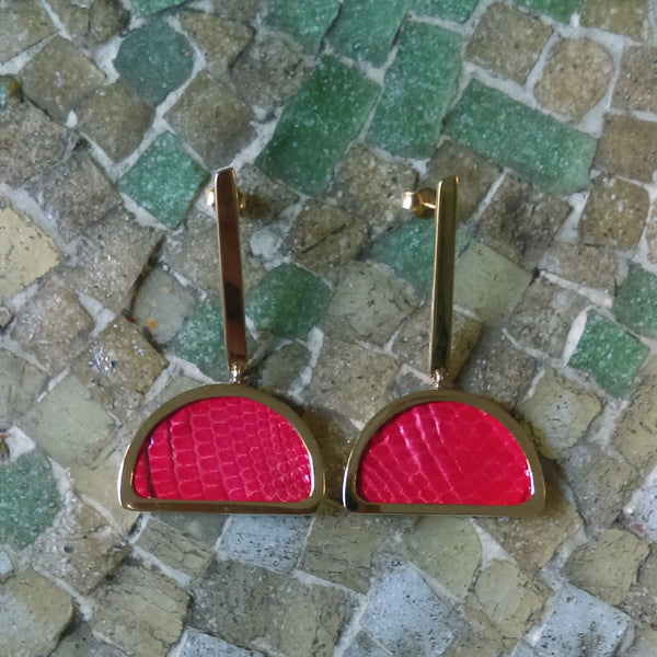 Red Leather Half-Moon Earrings