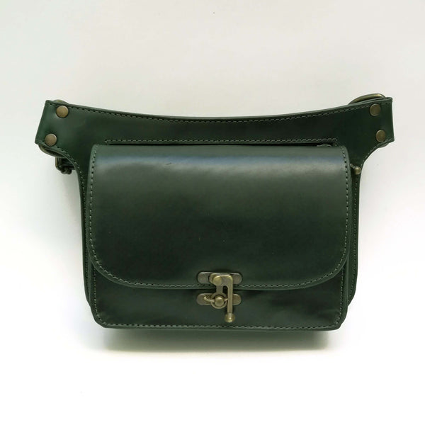 Dark Green Leather Crossbody- Hipbag Ariana Castellanos