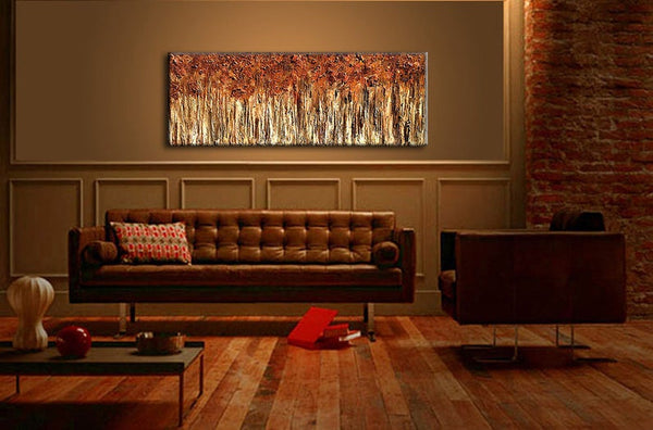 Modern Textured Landscape Abstract Art, Original Abstract Painting, Large Trees Painting on Canvas - New Wave Art Gallery
