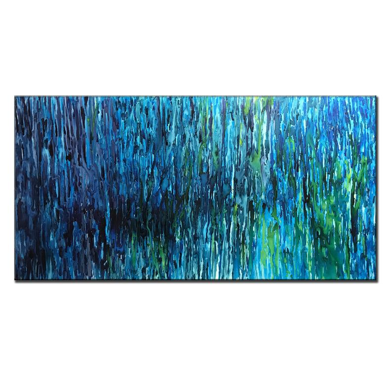 Large Original Abstract Painting, Contemporary Blue, green Wall Art On Canvas - New Wave Art Gallery