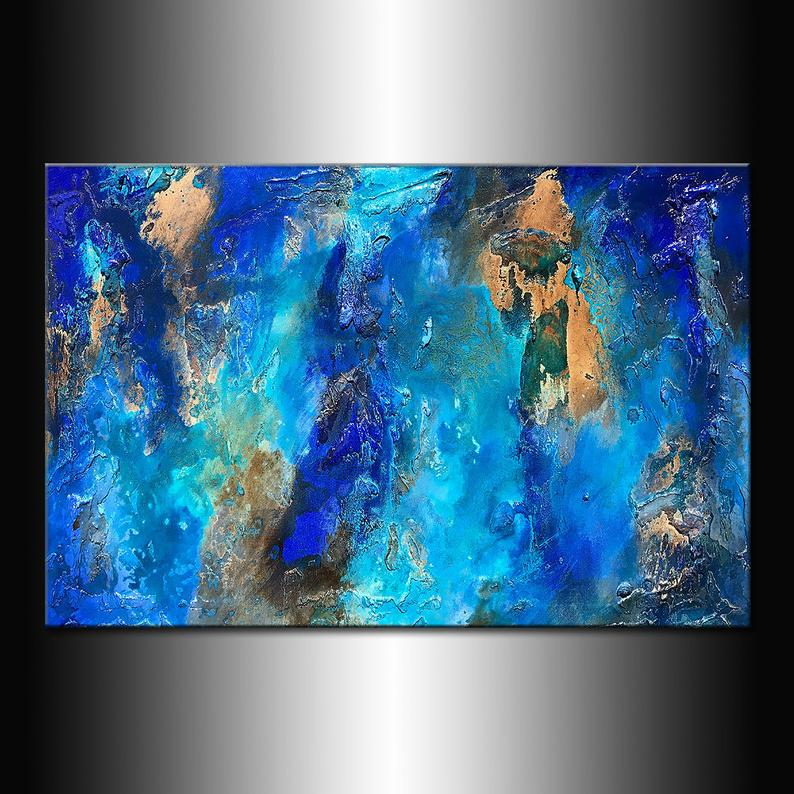 Large Abstract Blue Painting Original Abstract Painting Contemporary Wall Painting Acrylic Abstract Art On Canvas Living Room Wall Decor