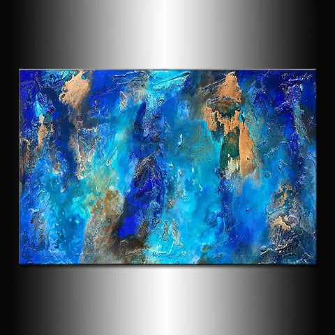 Blue Abstract Painting, Large Textured Painting on Canvas, Original Abstract Art Modern Wall Decor - New Wave Art Gallery