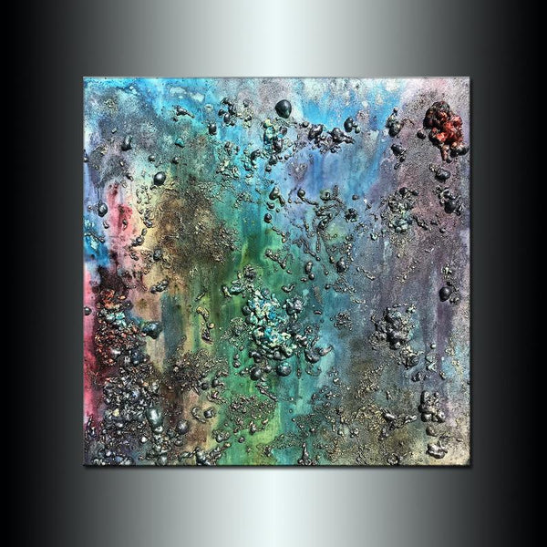 Abstract Painting, Textured Metallic Colorful Wall Art Painting Large Painting on Canvas