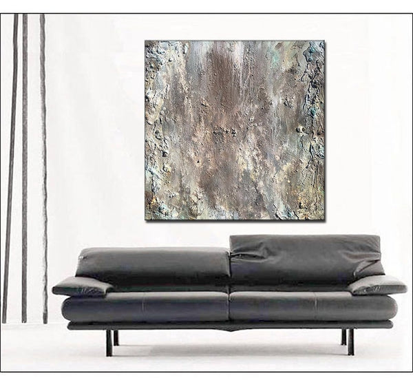 Abstract Painting, Large Textured Wall Art, Grey, white Painting Abstract Art , Modern Fine Art - New Wave Art Gallery