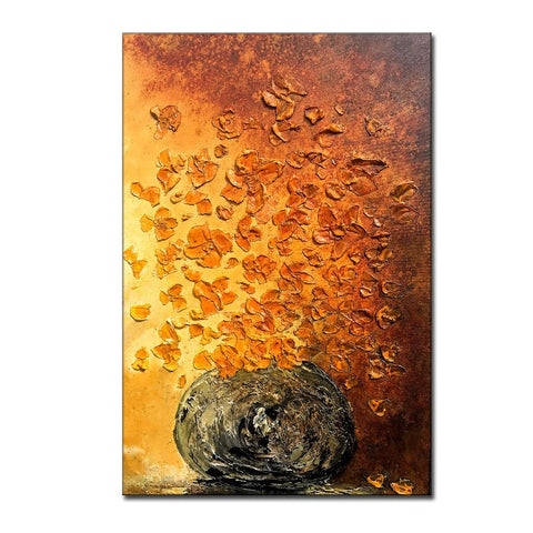 Textured Abstract Painting, Original Floral Wall Art, Large Painting on Canvas - New Wave Art Gallery