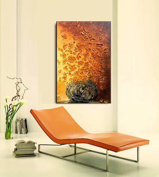 Textured Abstract Painting, Original Floral Wall Art, Large Painting on Canvas