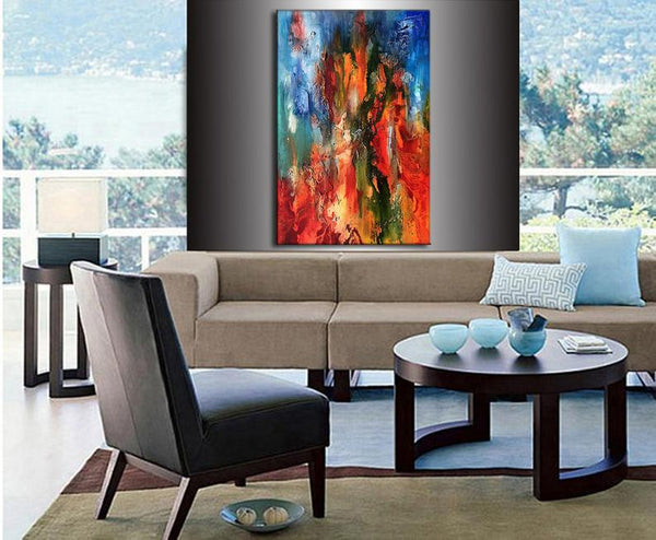 Original Abstract Painting, Colorful Wall Art, textured canvas art