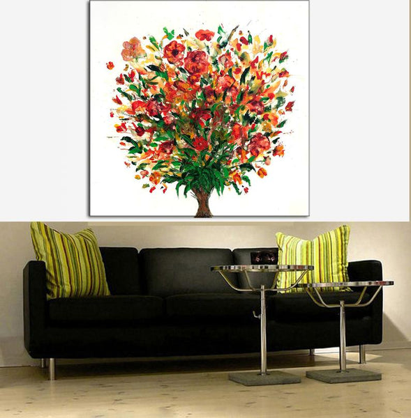 Large Abstract Painting, Wall Art Floral Painting Contemporary Canvas Art, Colorful Flowers Painting - New Wave Art Gallery