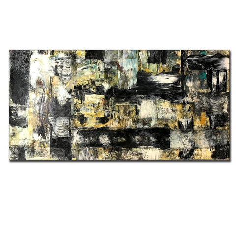 Abstract Painting, Wall Art Painting Abstract Art , Modern Fine Art, Contemporary Black, white, Yellow Bedroom Wall Decor - New Wave Art Gallery