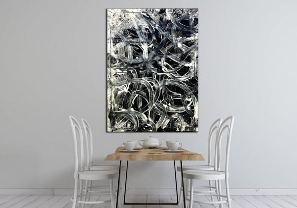 Modern Abstract Wall Art, Original Black And White Abstract Painting, Large Painting on Canvas - New Wave Art Gallery