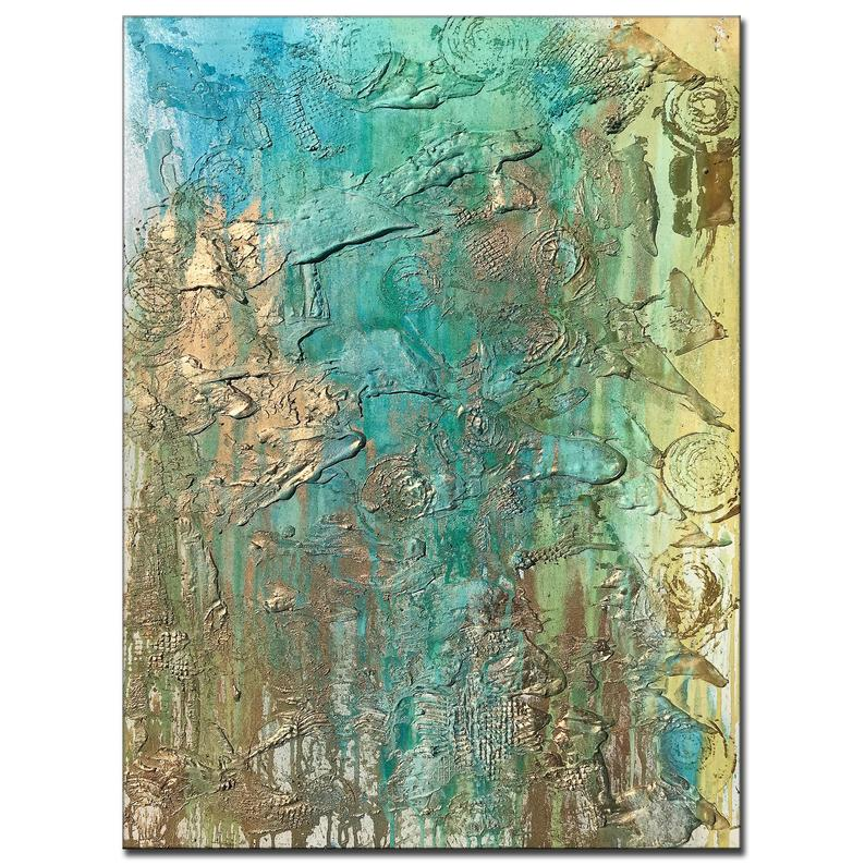 Original Abstract Painting, Large Textured Blue, Gold Painting on Canvas - New Wave Art Gallery