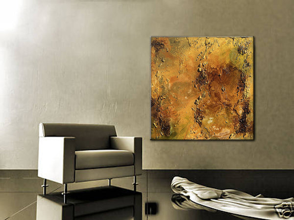 Huge Original Abstract Painting,Rich Textured Metallic Contemporary Canvas Art Interior Design by Henry Parsinia large 36x36 - New Wave Art Gallery
