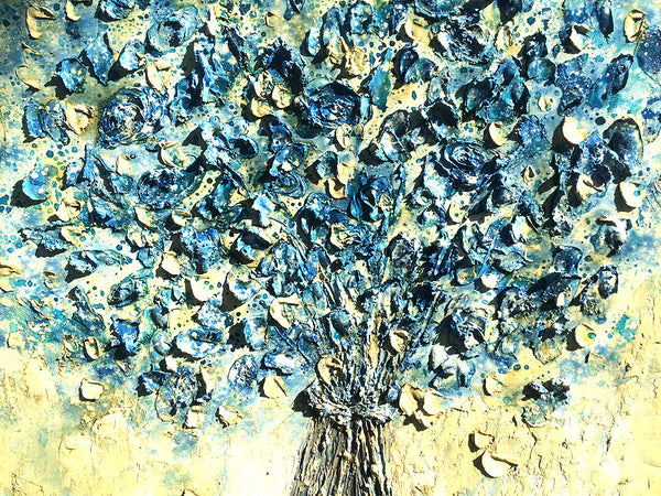 Textured Blue Flowers Bouquet Contemporary Abstract  Painting by Henry Parsinia 30x30 - New Wave Art Gallery