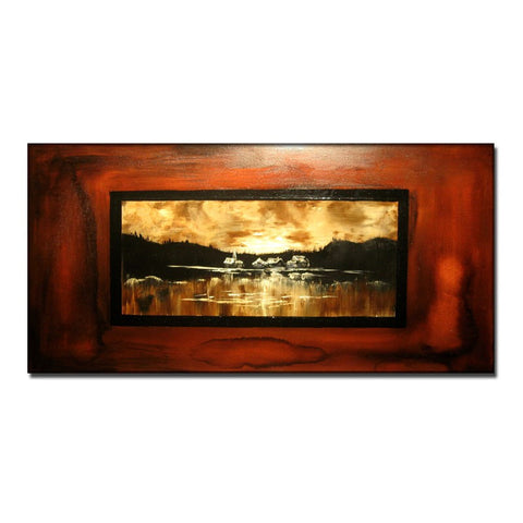 Abstract Painting, Original Modern Abstract landscape Painting, Lake Sunset  Contemporary Fine Art by Henry Parsinia large 48x24 - New Wave Art Gallery