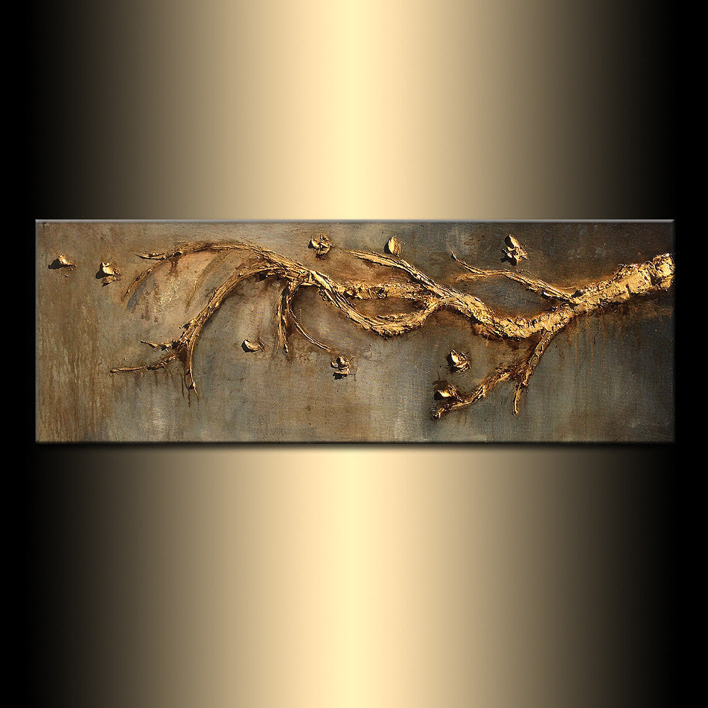 Original Contemporary Rich Textured Modern Metallic Gold Tree Branch Abstract Painting by Henry Parsinia 48x18 - New Wave Art Gallery