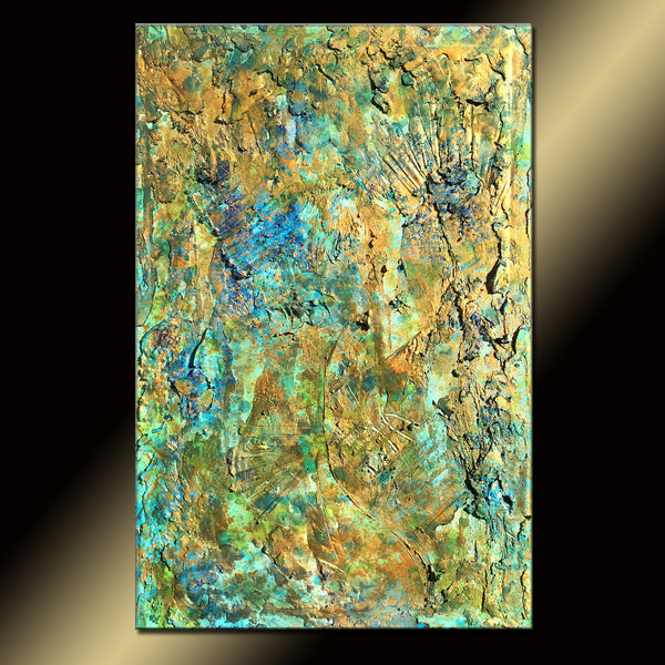 Original Abstract Painting,Rich Textured Metallic Contemporary Canvas Art Interior Design by Henry Parsinia large - New Wave Art Gallery