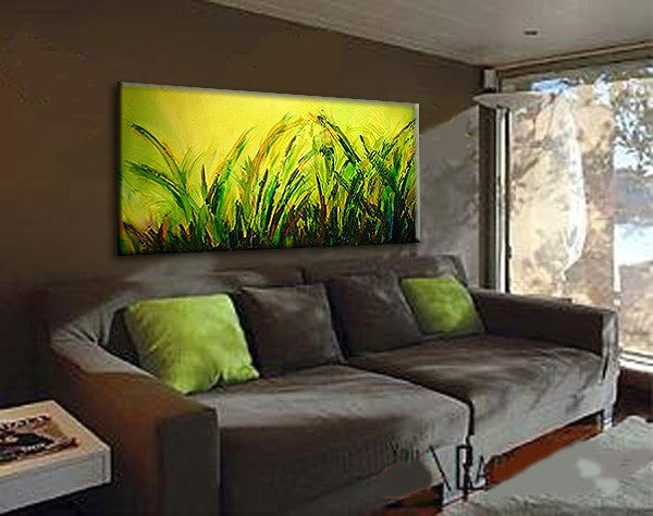 Green Textured Modern  Landscape Abstract Painting By Henry Parsinia 48x24 - New Wave Art Gallery