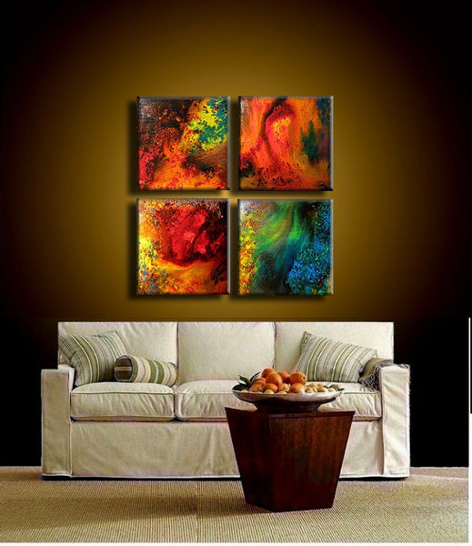 Abstract painting - ORIGINAL Contemporary Modern Fine Art, Colorful Canvas Art, by Henry Parsinia 24x24 - New Wave Art Gallery