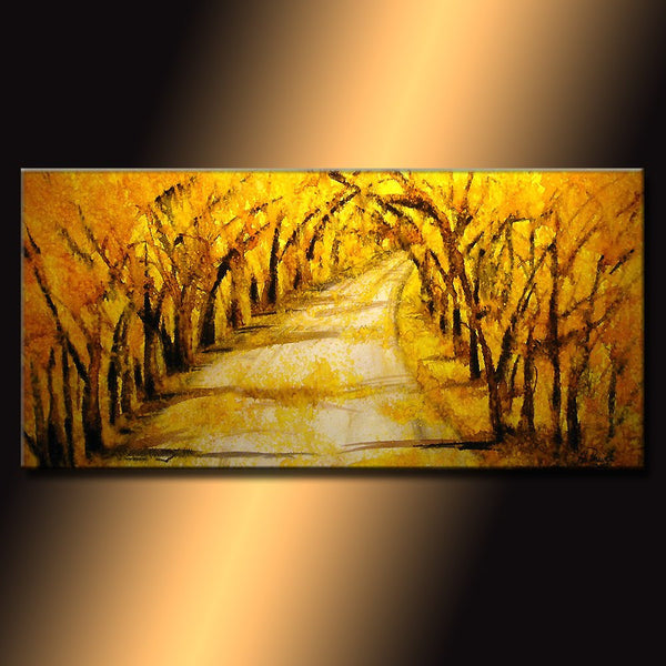 Original  Abstract Landscape Painting, Modern Tree Pathway  Painting , Autumn Color painting by Henry Parsinia Large 48x24 Made to order - New Wave Art Gallery