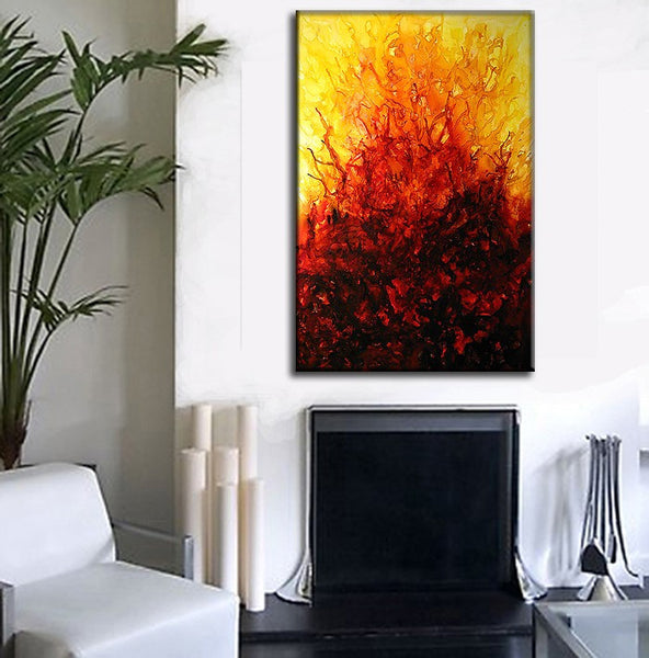 Original Modern Abstract Painting Contemporary Red, Yellow Fine Art by Henry Parsinia large 36x24 - New Wave Art Gallery