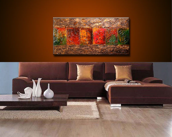 Original Texture Contemporary  Modern Abstract Painting Contemporary Fine Art by Henry Parsinia Large 48x24 - New Wave Art Gallery