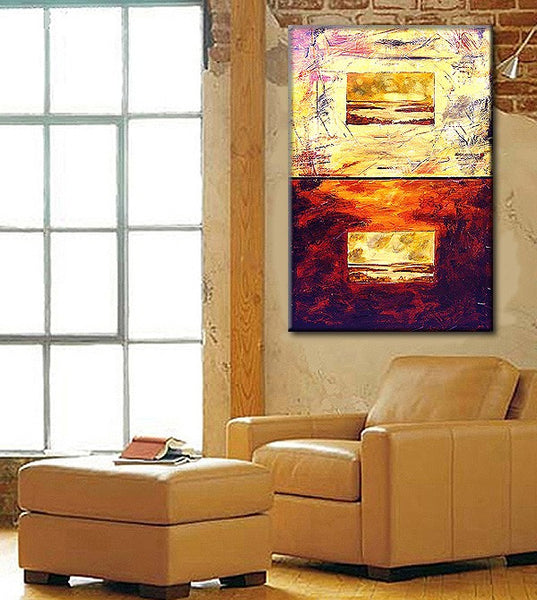 ORIGINAL Abstract Landscape Texture painting contemporary Fine Art  By Henry Parsinia large 36x24 - New Wave Art Gallery