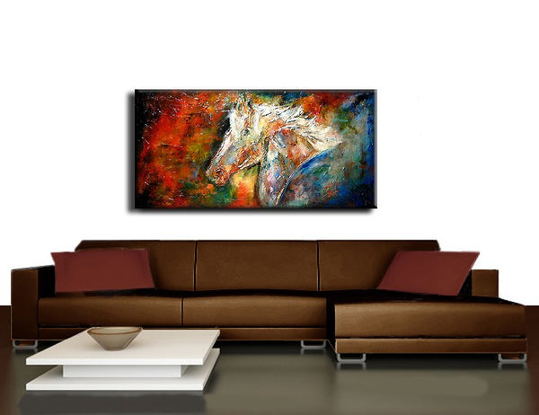 on sale Original  Figurative Impressionism  Abstract Contemporary Fine Modern rich textured Painting by Henry Parsinia Large 48x24 - New Wave Art Gallery