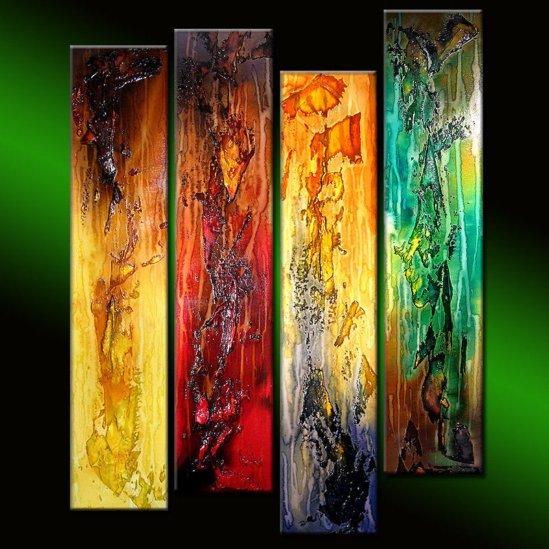 Original modern textured Colorful abstract painting contemporary Wall Art on canvas by Henry Parsinia - New Wave Art Gallery