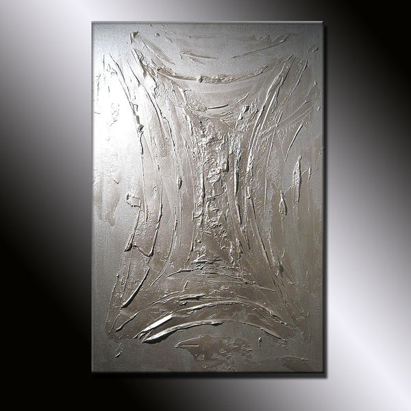 Original Painting Textured  Metallic Abstract Painting by Henry Parsinia large 36x24 - New Wave Art Gallery