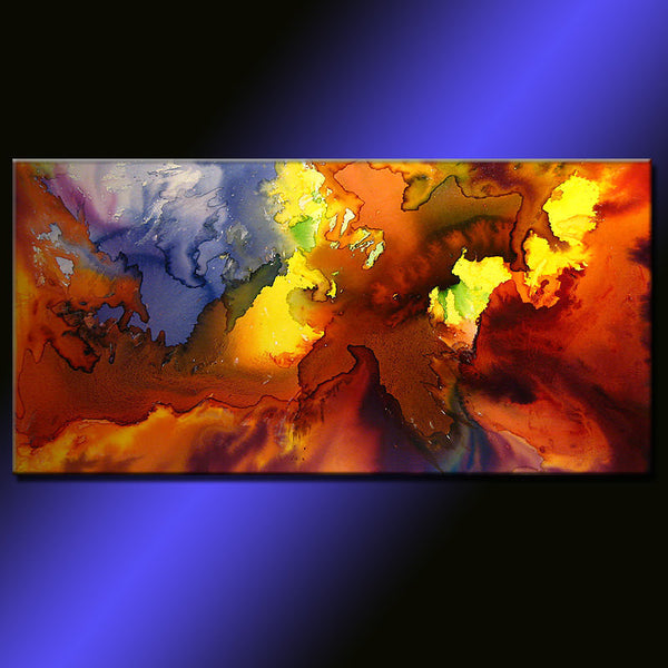 Original PAINTINGS ABSTRACT Contemporary Fine Art by Henry Parsinia Large 48x24 - New Wave Art Gallery