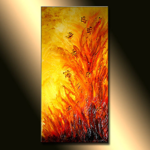 Contemporary Textured floral modern abstract painting canvas art by Henry Parsinia - New Wave Art Gallery