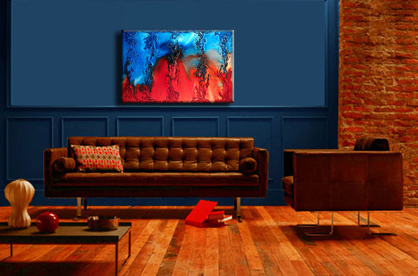 ORIGINAL Abstract Contemporary Fine Modern rich textured Painting by Henry Parsinia Large 36x24 - New Wave Art Gallery