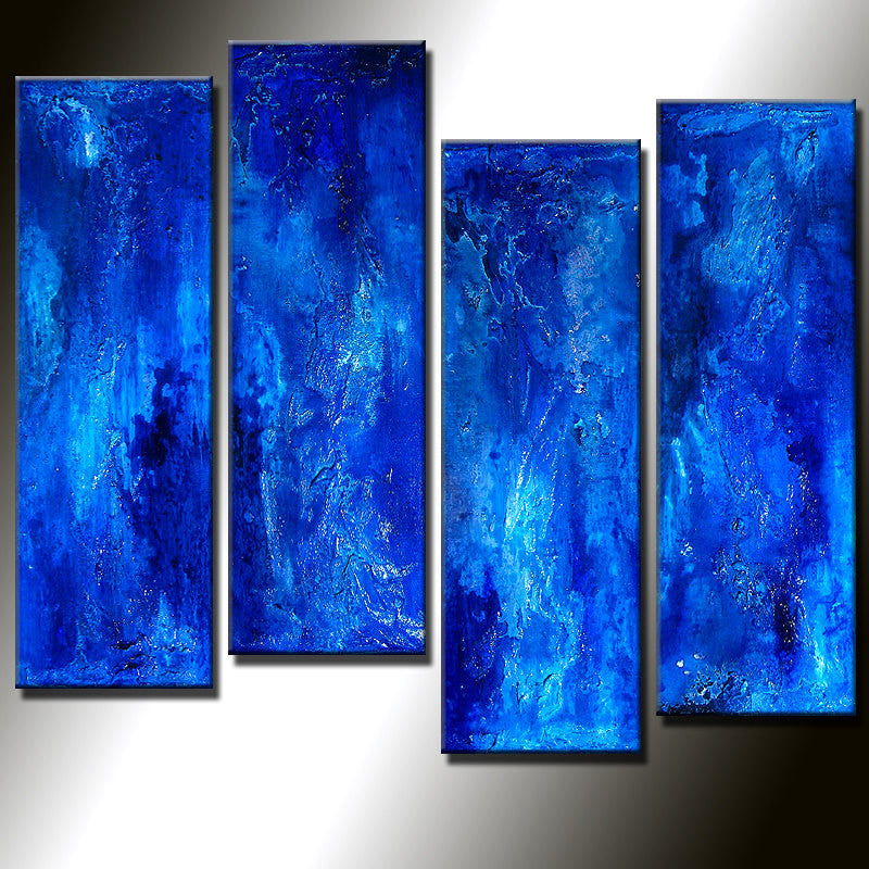 ORIGINAL Abstract Painting Textured Contemporary Blue Fine Art  by Henry Parsinia Large32x24 - New Wave Art Gallery
