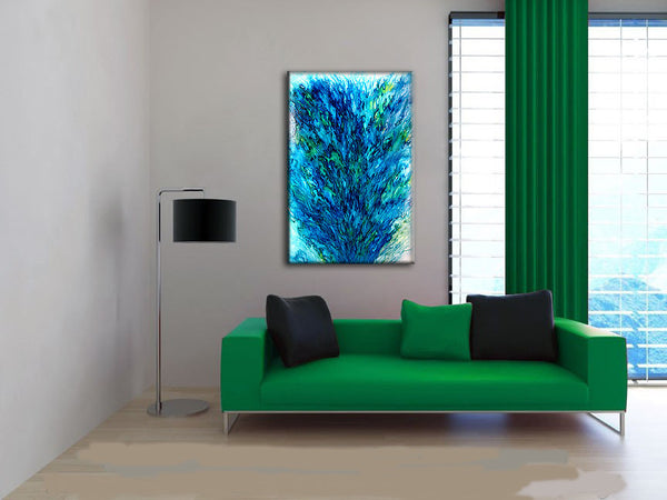 Original Modern Blue Green Abstract painting Contemporary Fine Art by Henry Parsinia Large 36x24 - New Wave Art Gallery