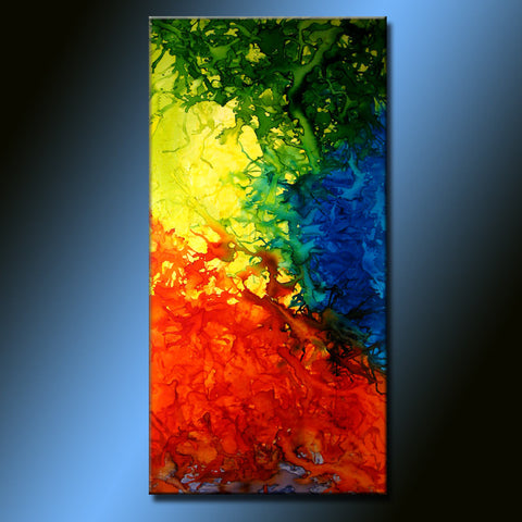 Abstract Painting ,Original Abstract painting Contemporary modern Art  by Henry Parsinia Large 48x24 - New Wave Art Gallery
