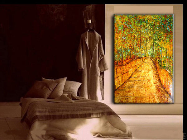 Original Abstract Painting Modern Landscape by HENRY PARSINIA Large 36x24 - New Wave Art Gallery