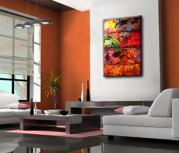 ORIGINAL Abstract Contemporary rich textured  Painting by Henry Parsinia Large 36x24 - New Wave Art Gallery