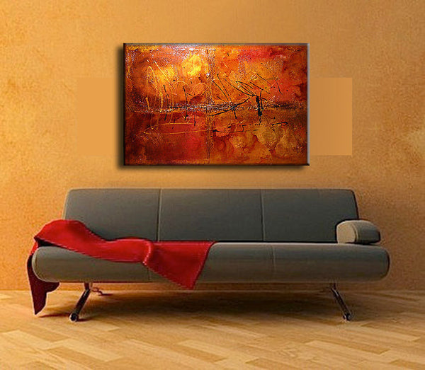 ORIGINAL Textured Abstract painting Contemporary Gold Orange Metallic Fine Gallery Art by Henry Parsinia Large 36x48 - New Wave Art Gallery