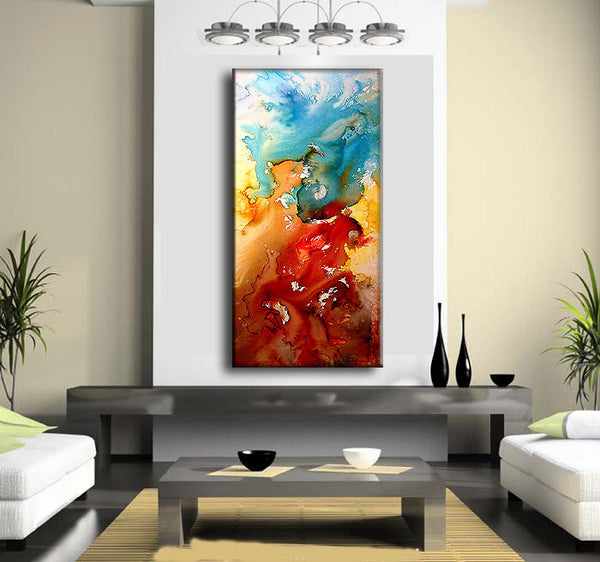 Original Modern Painting, Red And Blue Contemporary Fine Art On Canvas by Henry Parsinia 48x24 - New Wave Art Gallery