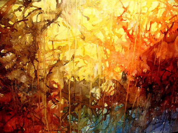 Modern Painting Original Abstract Contemporary Fine Art by Henry Parsinia Large 48x24 - New Wave Art Gallery