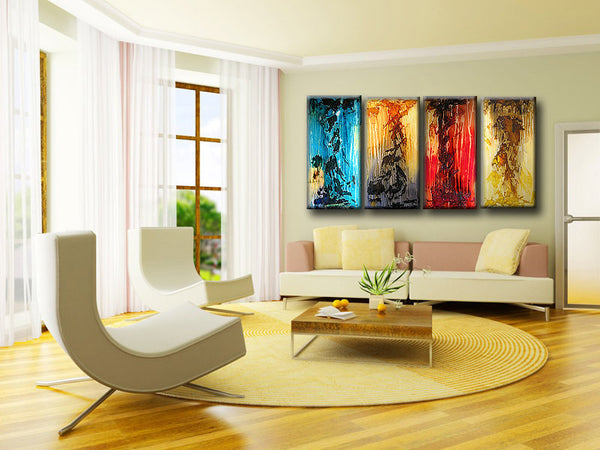 ORIGINAL Huge Textured abstract Painting, Contemporary Fine Art, Multi Paneled textured by Henry Parsinia  72X36 - New Wave Art Gallery
