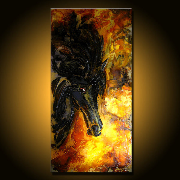 Original Textured Abstract Art, Figurative Impressionism Horse Painting, Modern rich textured Fine Art,by Henry Parsinia Large 48x24 - New Wave Art Gallery