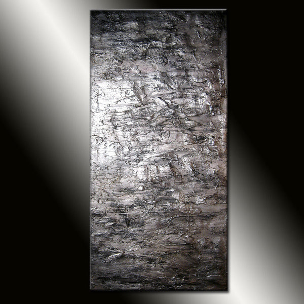 Texture Silver Metallic Abstract painting large Wall Art  On Canvas Ready To Hang By Henry Parsinia 60x36 - New Wave Art Gallery