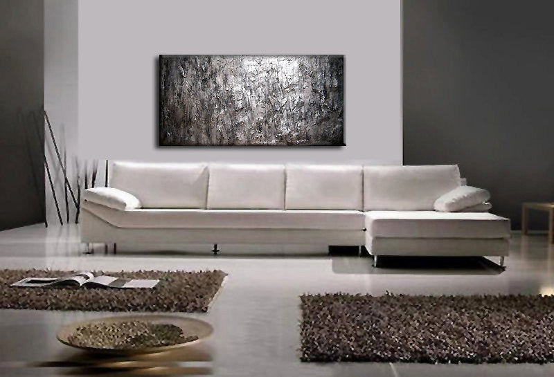 Texture Silver Metallic Abstract Painting Large Wall Art On Canvas Rea New Wave Art Gallery