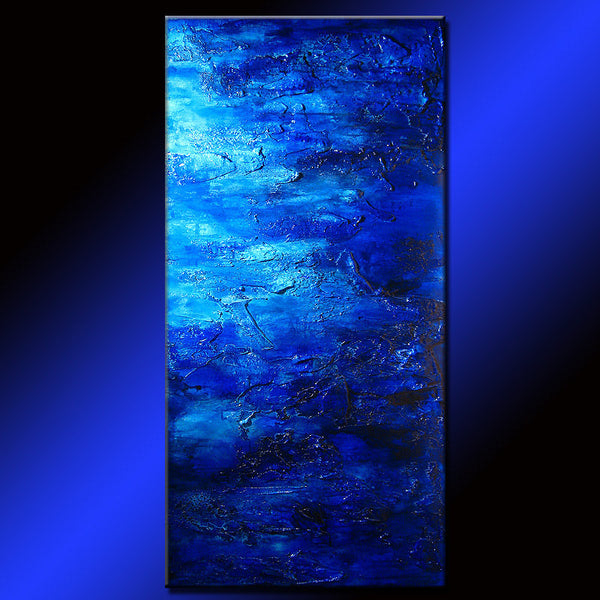 Original Modern Blue Acrylic Art on Canvas Thick Texture Abstract Painting by Henry Parsinia Large 48x24 - New Wave Art Gallery