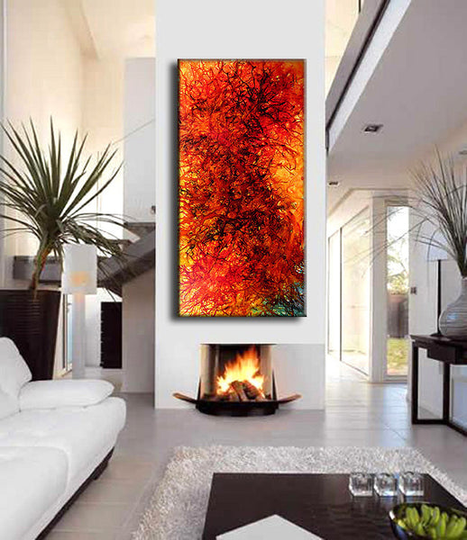 Original Modern Abstract painting Contemporary red Yellow And Black Wall Art On Canvas by Henry Parsinia Large 48x24 - New Wave Art Gallery