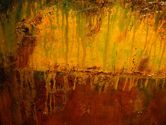 Large ORIGINAL Modern rich textured Painting, Brown yellow  art by Henry Parsinia 48x24 - New Wave Art Gallery